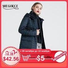 Miegofce 2020 新コレクションの女性の春ジャケットスタイリッシュなコートフードとパッチポケットダブル保護から風トレンチ