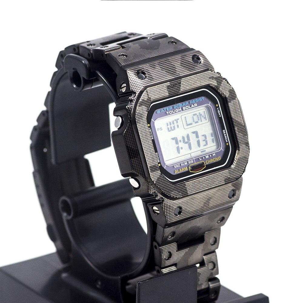 Black Camouflage 316L Stainless Steel DW5600 GW-M5610 Watchband Bezel/Case Strap Watch Set