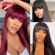 Искусственные волосы AliPearl, прямые бразильские волосы с челкой, для черных женщин, Remy, аппарат, # 99J, искусственные волосы