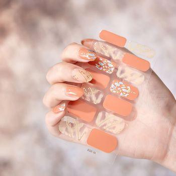 14pcs/sheet Glitter Gradient Color Nail Stickers Nail Wraps Full Cover Nail Polish Sticker DIY Self-Adhesive Nail Art Decoration 52