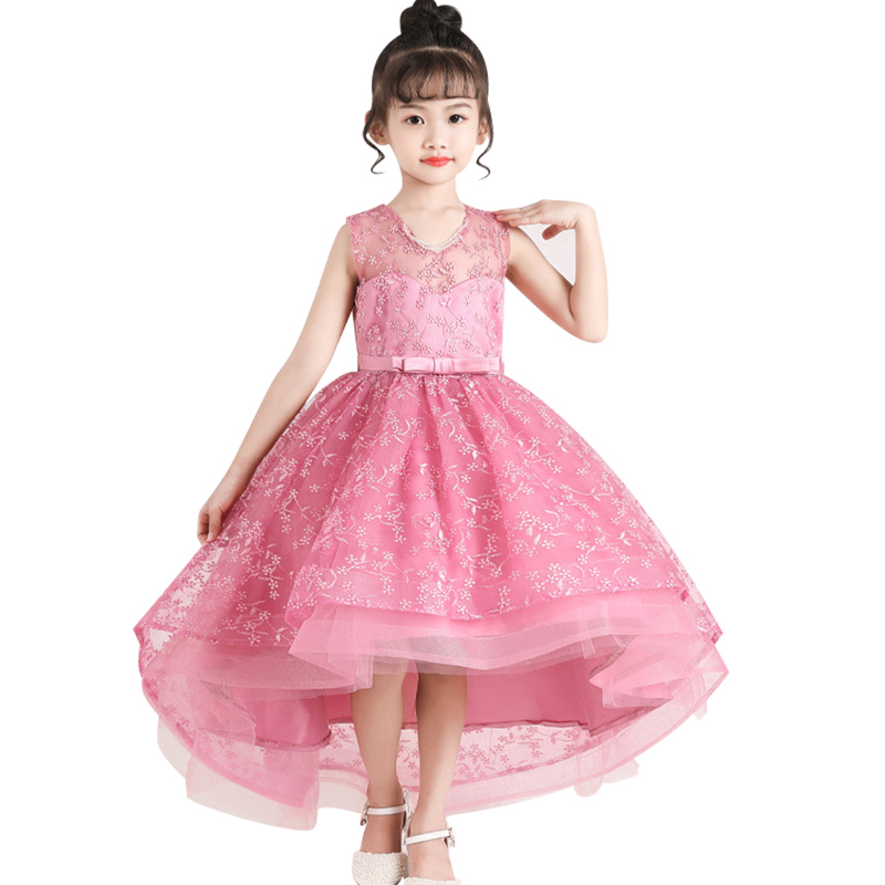 Flower Girl Wedding Party Bridesmaid Banquet Temperament Tail Dress Girl's First Official Dinner Embroidery Dress Vestido