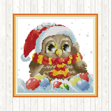 Christmas Owl Counted Cross Stitch Sets Printed Canvas for Embroidery Kit 14CT 11CT DMC DIY Crafts,cross-stitch Needlework