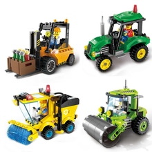 цена на Tractor city building road roller forklift sweeper building blocks set Playmobil brick legoed children's toys minecraft moana
