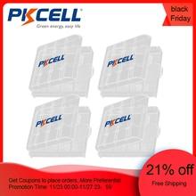 4 шт., пластиковый портативный чехол PKCELL для перезаряжаемых батарей AA AAA