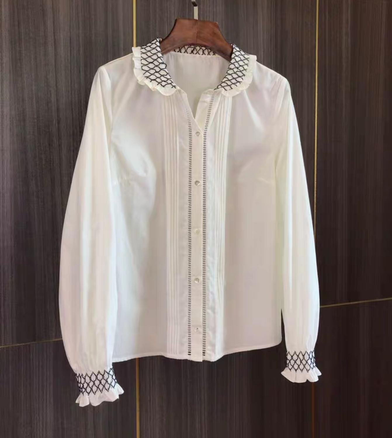Black And White Contrast Grid Jacquard Women Shirt Long Sleeve Retro Lady Blouse