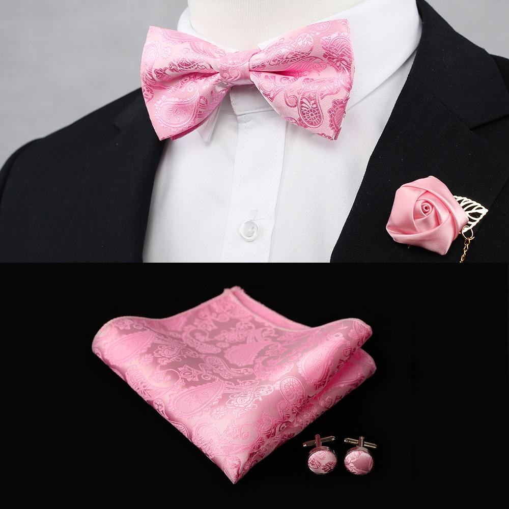 Mens Bow Tie Lot Silk Pink Paisley Italy Bow Ties Cufflinks Hankie Set Jacquard