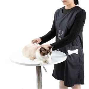 Delantal de nilón para el cuidado del gato con los bolsillos impermeable cachorro negro embellecedor ropa mascotas aseo tienda perros Accesorios