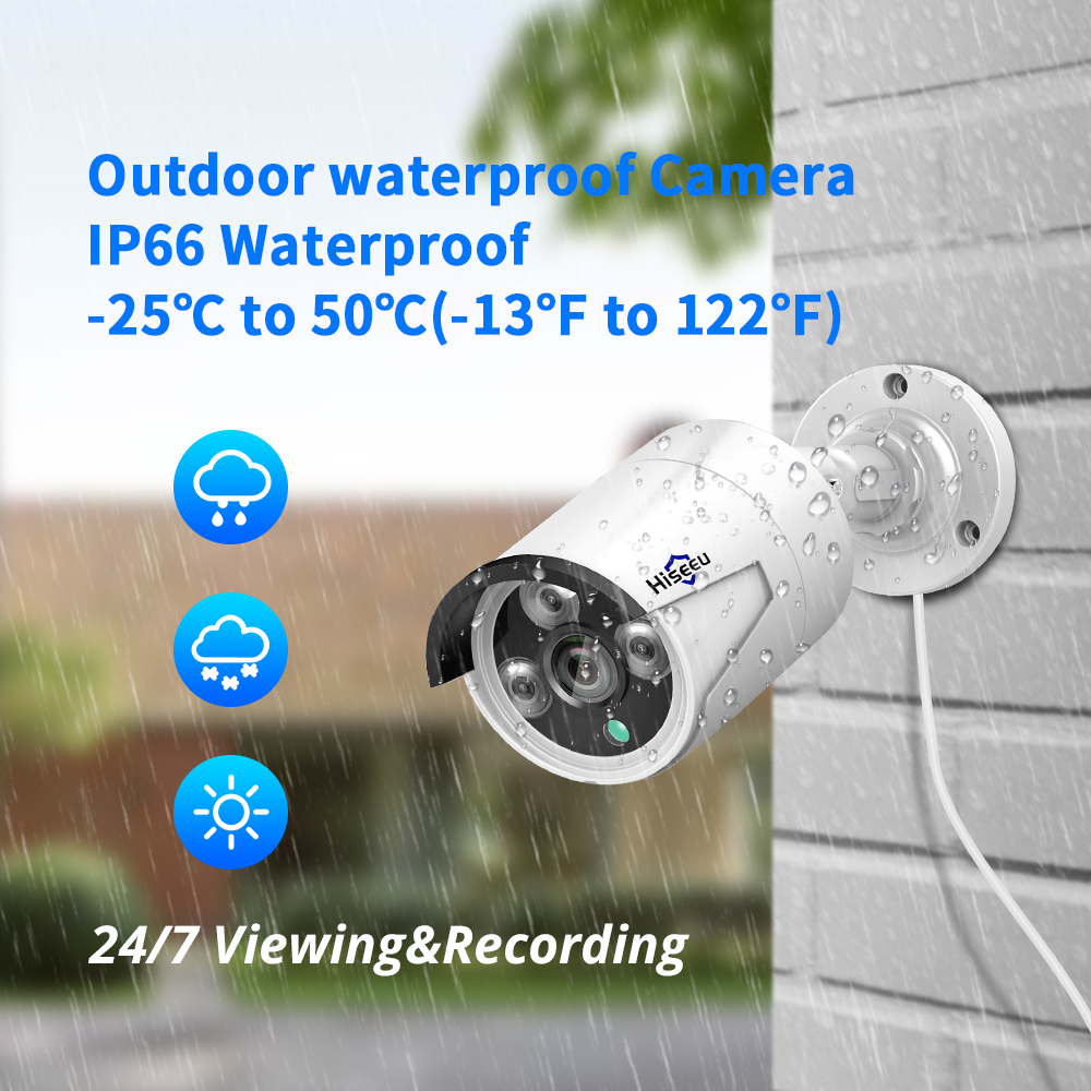 H.265 48V 8CH 5MP 4MP POE NVR System Outdoor PoE IP CCTV Security Camera Waterproof Infrared Hiseeu