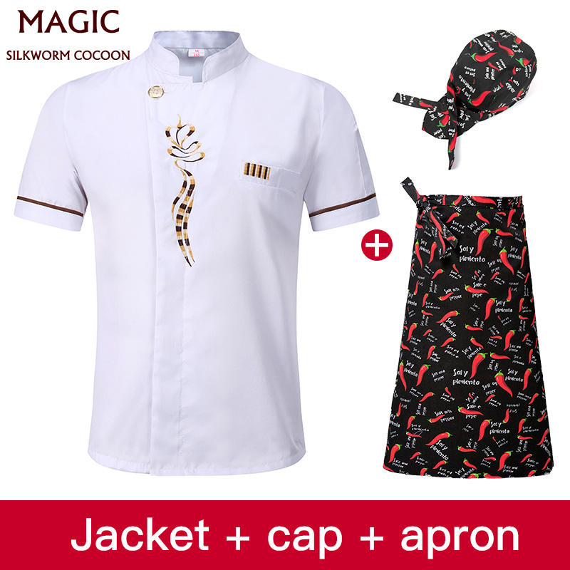 White Chef Uniform Short Sleeve Breathable Sweat-absorbent Wear High Quality Hotel Uniform Embroidery Chef Clothes+hat+apron