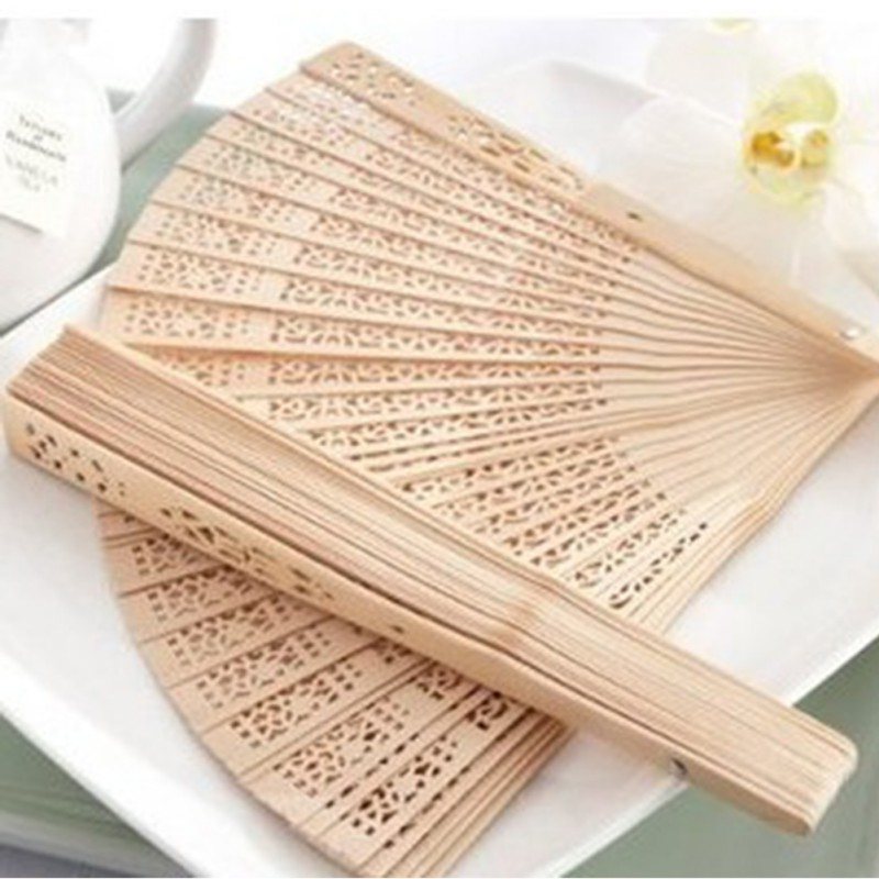 Chinese Aromatic Wood Hand Decor Pocket Fans Elegent Wood Home Folding Held