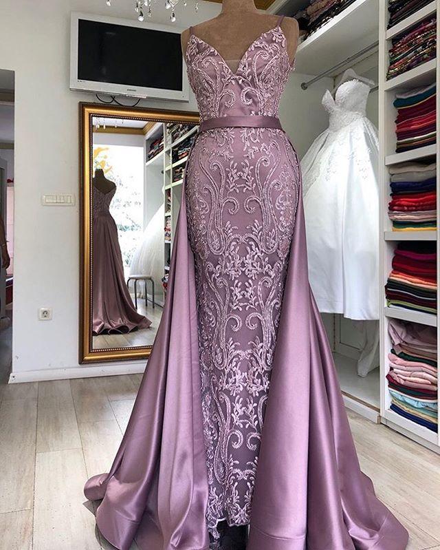 Vintage Robe De soirée Sirene Spaghetti sangle détachable queue sirène longues robes De soirée 2019 dentelle sans manches Robe Longue