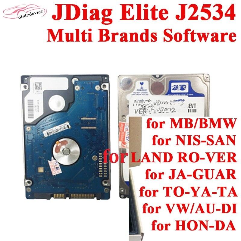 Oprogramowanie wielu marek w 1 tb dysku twardego zainstalować HDD z JDiag EliteII Pro J2534 profesjonalne narzędzie diagnostyczne do samochodów ECU narzędzie