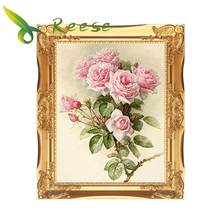 Needle Arts Craft Mosaic Diamond Painting Rhinestones Embroidery Picture Vintage Pink Roses Oils Style Mosaic Decor Hobby Gift(China)
