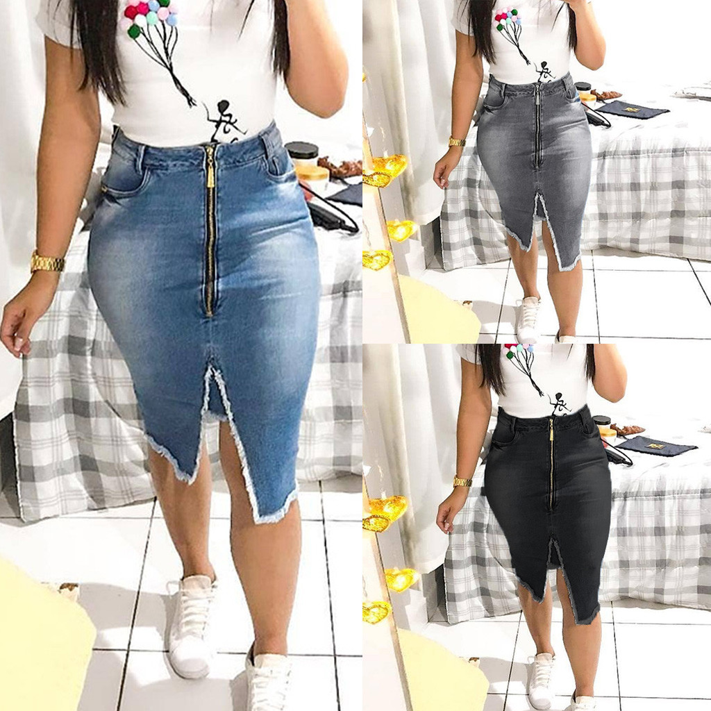 Women Fashion High Waist Ripped Split Bodycon Street Style Denim Skirt A-line Solid Casual Knee-length