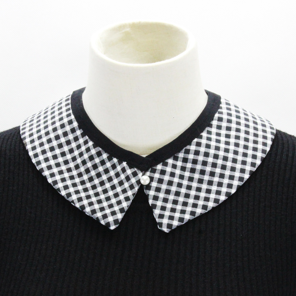 Black And White Small Lattice Dickie Sweater Loose Coat Decoration Tip Detachable Fake Collar New Free Shipping Shirt Women