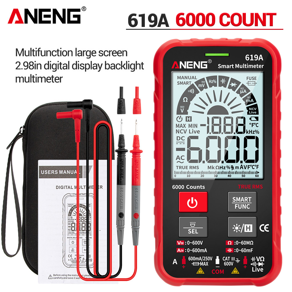 ANENG 619A Digital Multimeter AC DC Currents Voltage Testers True RMS 6000 Counts Professional Analog Bar Multimetro NCV Meter