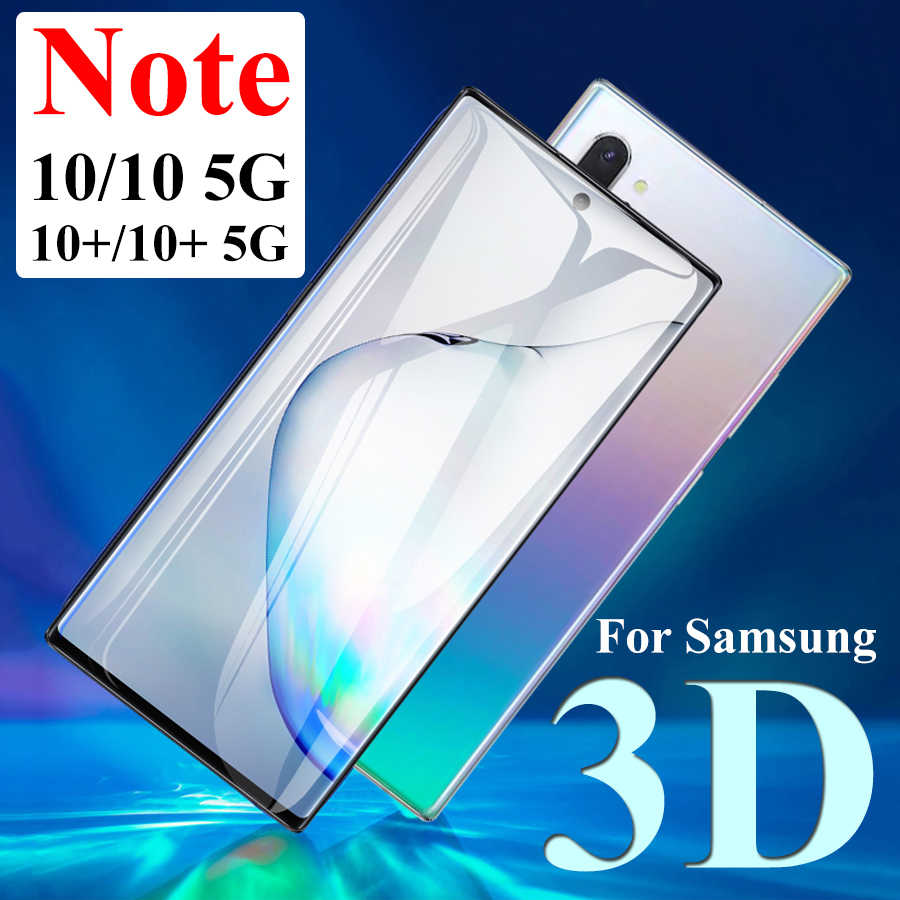 Buy 3d for samsung galaxy note 10 screen protector on samsum sansun note10 10pro tempered glass protective film not10 10+ plus tremp for only 2.4 USD