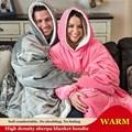 WOSTAR зимнее мягкое Флисовое одеяло с рукавами, одеяло с капюшоном, свитер, ультраплюшевое одеяло большого размера, уличное теплое фланелевое...
