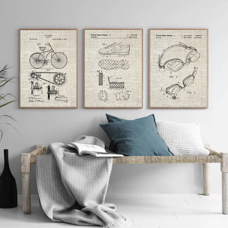 Triathlon-Patent-Canvas-Posters-Cycling-Swimming-Running-Group-Sports-Wall-Art-Pictures-Vintage-Painting-Prints-Triathlon (3)