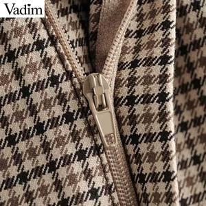 Image 3 - Vadim elegante para mujer houndstooth plaid midi falda cremallera fly bolsillos dividido a cuadros mujer Oficina wear chic faldas BA895