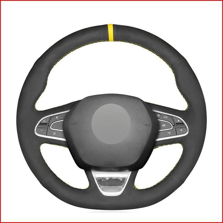 Custom Made Anti Slip Black Suede Car Steering Wheel Cover for Renault Kadjar Koleos Megane Talisman
