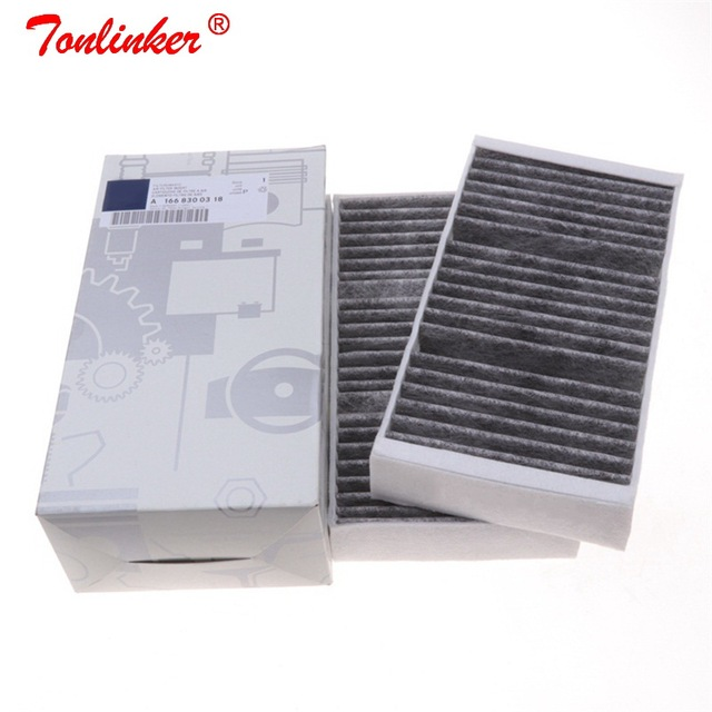 Kabin filtresi A1668300318 için 2 adet Mercedes GL CLASS X166 2012 2019/M CLASS W166 2011 2015 Model araba dahili karbon Fiilter