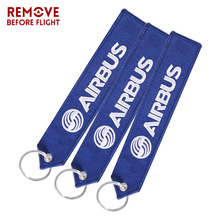 3PCS Motorcycles Keychain Airbus Embroider Aviation KeyRing Chain Tags Gifts Fobs OEM Jewelry for Gift Strap