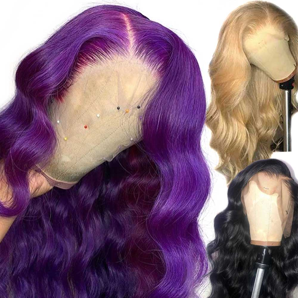 Atina 13*6 Deep Part Lace Front Human Hair Wigs Purple Color Body Wave Wig 613 Blonde PrePlucked Brazilian Remy For Black Women