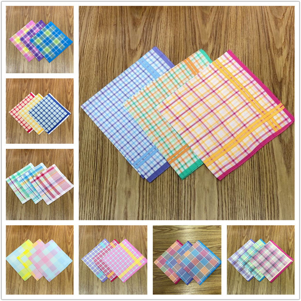 100% Cotton Handkerchiefs Multicolor Plaid Stripe Pocket Squares Business Chest Towel Pocket Hanky Hankies Scarves Women