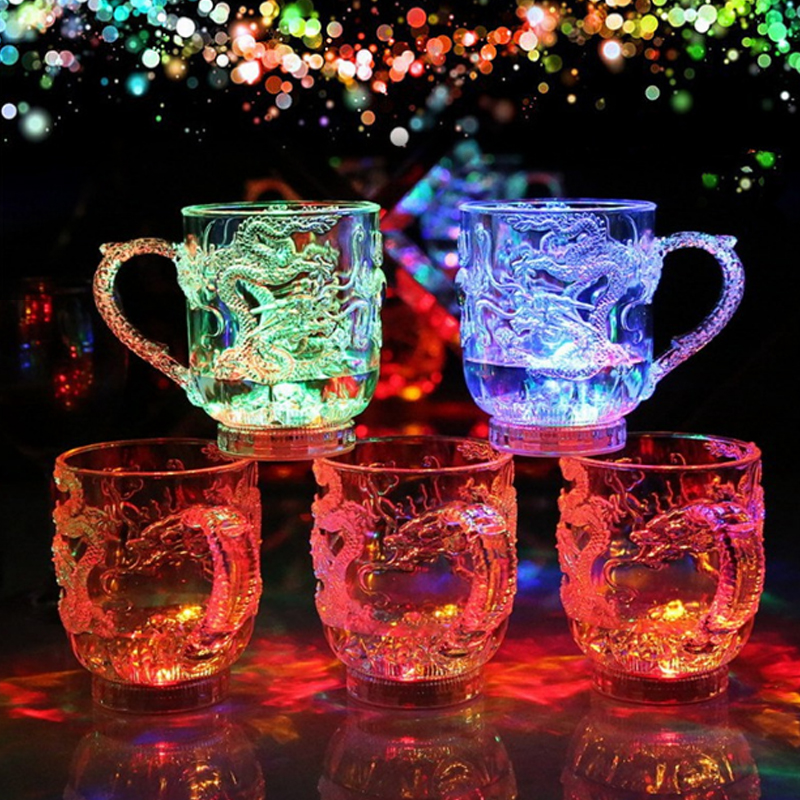 Glowing Glass Beer Cup Dragon Pattern LED Flashing In Water Colorful Plastic Material High Quality Gifts Novelty Night Light