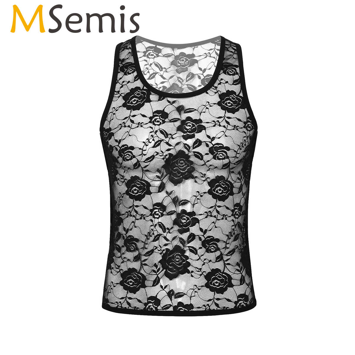 MSemis Mens Crossdressing Sissy Hot Sexy Lingerie Sleeveless Mesh Sheer Floral Lace Muscle Fitted T-Shirt Gay Tank Top