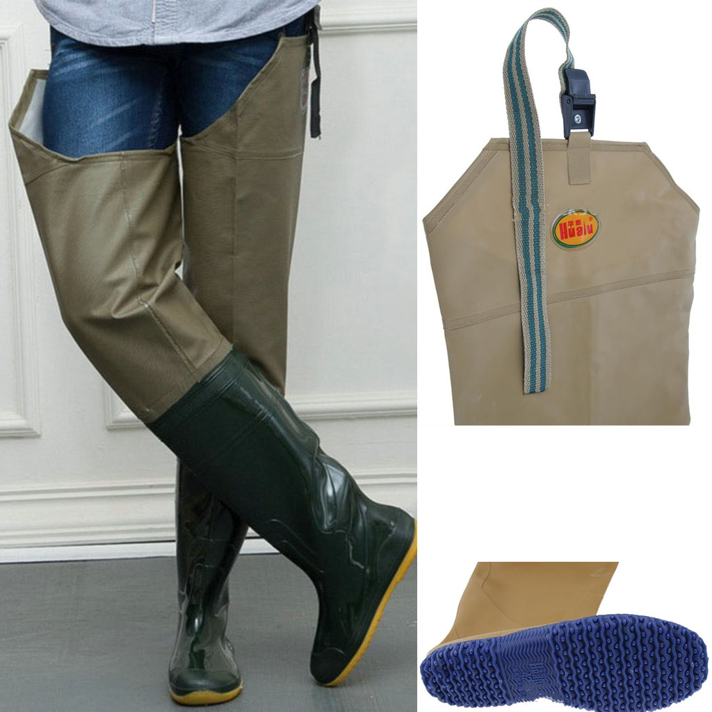 Rubber Men's Fishing Waders Fishing Wading Pants Waterproof Breathable Waders Boot Overalls Work Hunting River Trousers 41-44