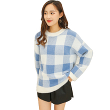 2019 Autumn Winter Thick Wool Sweater Women Round Neck Plaid Loose Pullover Casual O-Neck Long Sleeve Pink Gray Blue Green Top casual 2 in 1 round neck cold shoulder top in blue