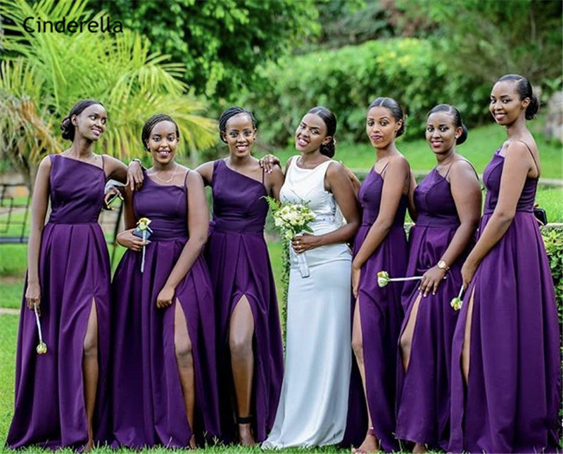 Cinderella African Style Purple Side Slit Silk Satin A-Line   Bridesmaid     Dresses   Sexy Wedding Party   Bridesmaid     Dresses