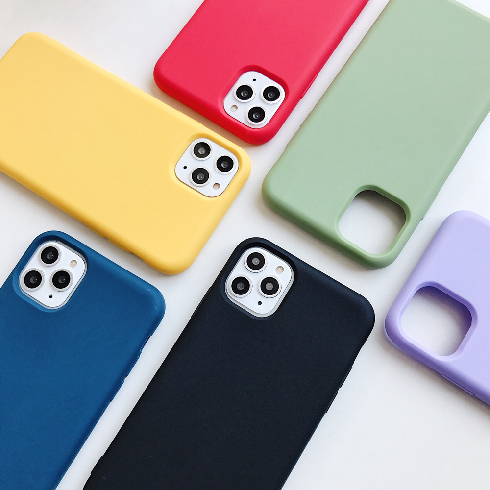 Shockproof Cute Candy Color Phone Case for iPhone 11 Pro Max Soft Silicone Rubber Cover Case for iPhone XR XS Max X 7 8 Plus