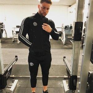 Image 2 - Mens Sports Suits Running Gym Tracksuit Men Set Sports Top Jogging Set Fitness Bodybuilding Sports Suits Mens Hoodie+Pants Suit