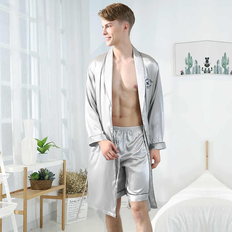 Mannen Zijde Zomer Kimono Pijiama Satijn Solid Lange Mouwen Shorts of Broek Pyjama Gown Koreaanse Tweedelige Pyjama Sets Navy nachtkleding