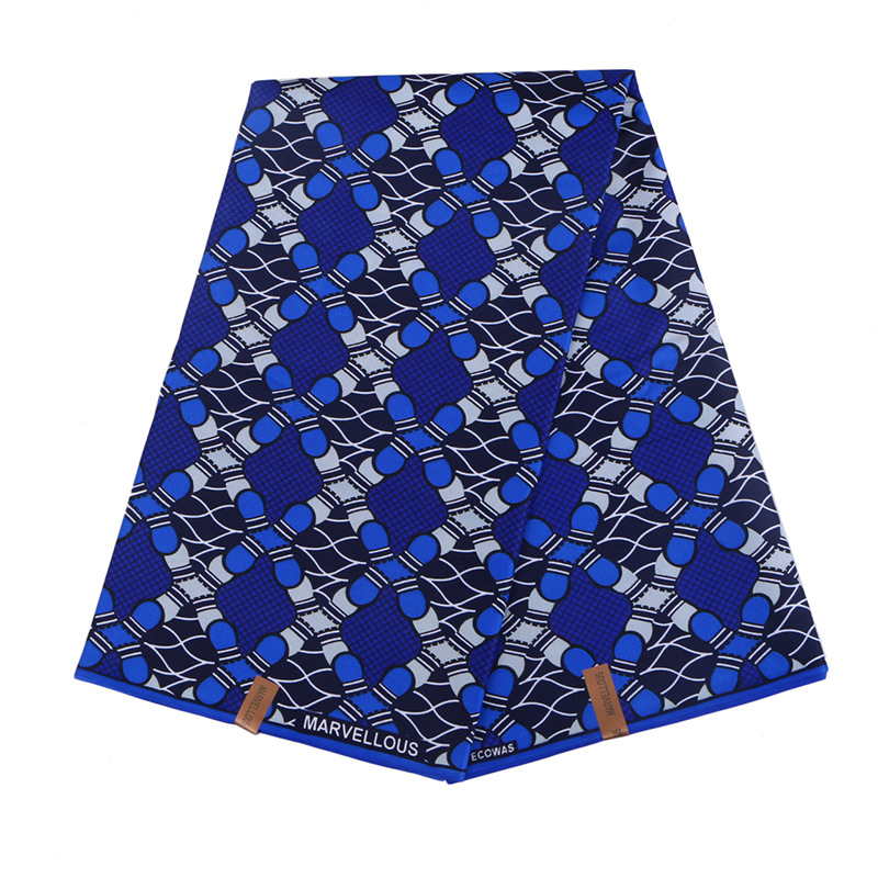 2019 Wax Fabric 100% Polyester Blue Print African Fabric Real Dutch Wax High Quality 6Yards\set