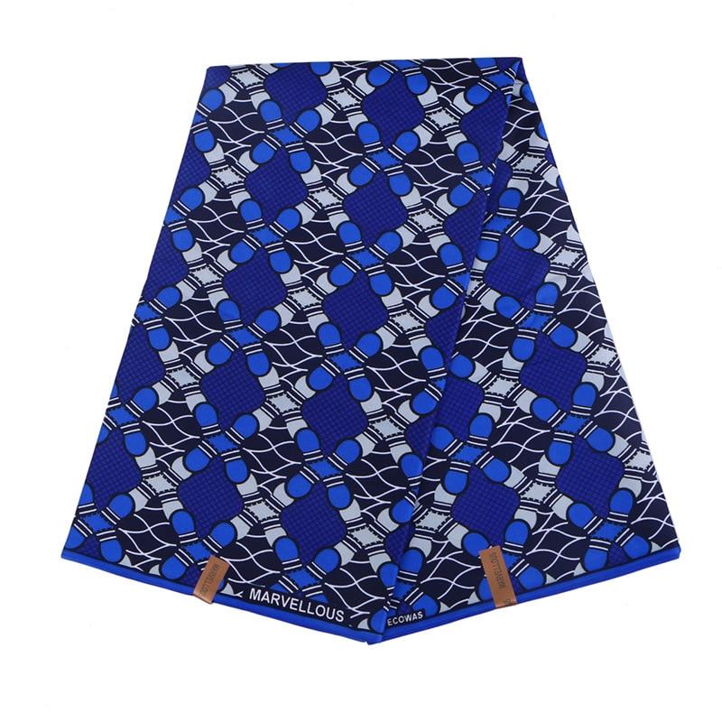 2019 Wax Fabric 100% Polyester Blue Print African Fabric Real Dutch Wax High Quality 6Yards\set