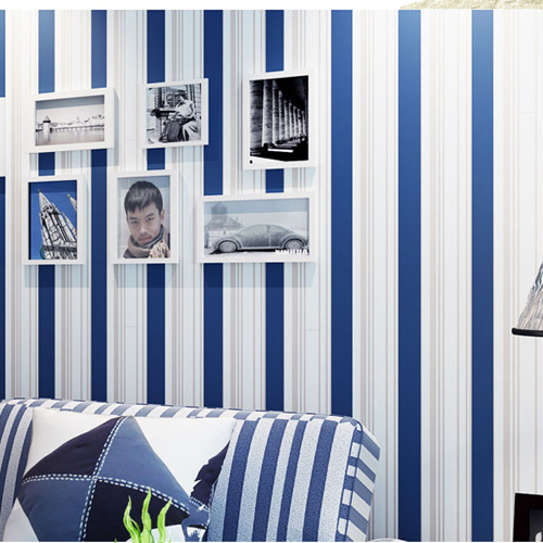 Mediterranean Blue And White Stripe Wallpaper Bedroom Living Room Television Background Wall Wallpaper Nonwoven Fabric Lines Wal