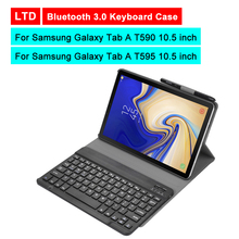 Buy Bluetooth 3.0 Tablet Keyboard Case For Samsung Galaxy Tab A T590/T595 10.5 inch Mediapad Leather Protective Cover Stand Holder directly from merchant!