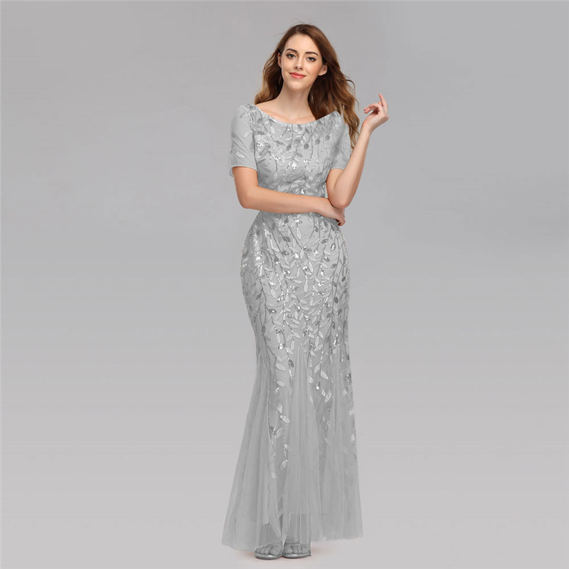 Beauty Emily 2019 O Neck Sequins Long Appliques Evening Dresses Short Sleeve Tiered Hems Prom Gowns Pleated Vestido De Noche