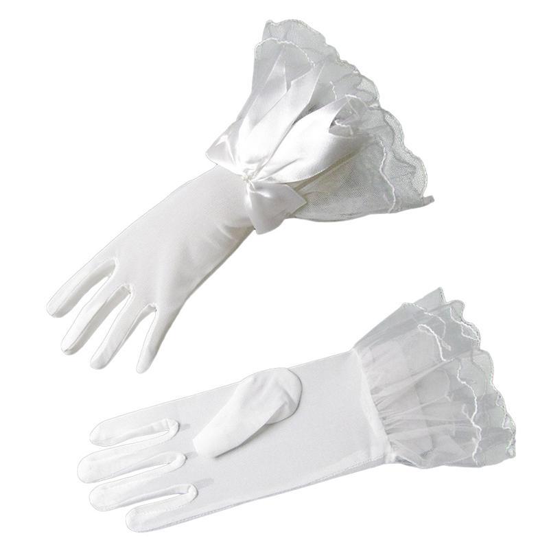 Fashion Black White Lace Fishnet Wedding Bridal Fingered Gloves Accessories