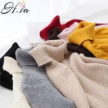 H. sa 2021 camisola de gola alta feminina básica casual camisola de malha sólida camisola coreana magro pull femme elasticidade superior pullovers de inverno