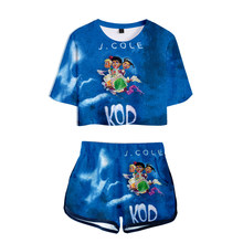 2019 New album J. Cole Ladies Printed Women Sets New Album Oversize Navel short sleeve and Short Pants O-neck Summer Set XXS-2XL(China)