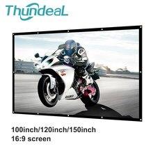 Thundeal tela do projetor 100 120 150 Polegada tela de projeção anti-vinco branco dobrável 16:9 led dlp porjector cortina