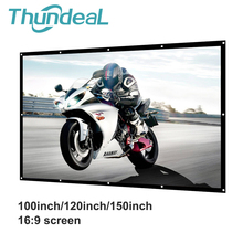ThundeaL Projector Screen 100 120 150 Inch Canvas Anti-crease White Projection Screen Foldable 16:9 LED DLP Porjector Curtain