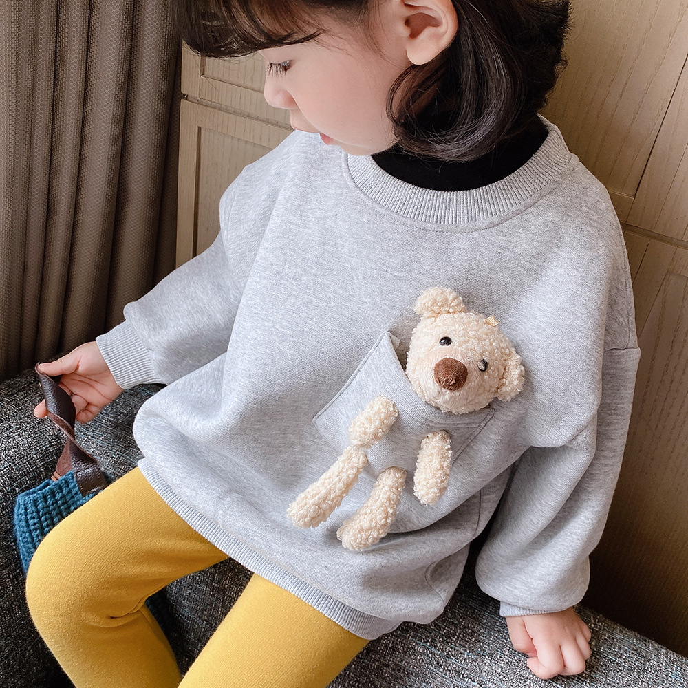 2021 Autumn Winter New Arrival Girls Fashion Bear T Shirt Kids Candy Color Warm Fleece Tops  Kids Clothes 4