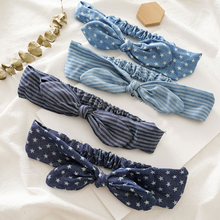 Summer Women Cute Rabbit Ears Headband Denim Cloth Star Striped Bowknot Hair Band Elastic Turban Girls Hairband Hair Accessories