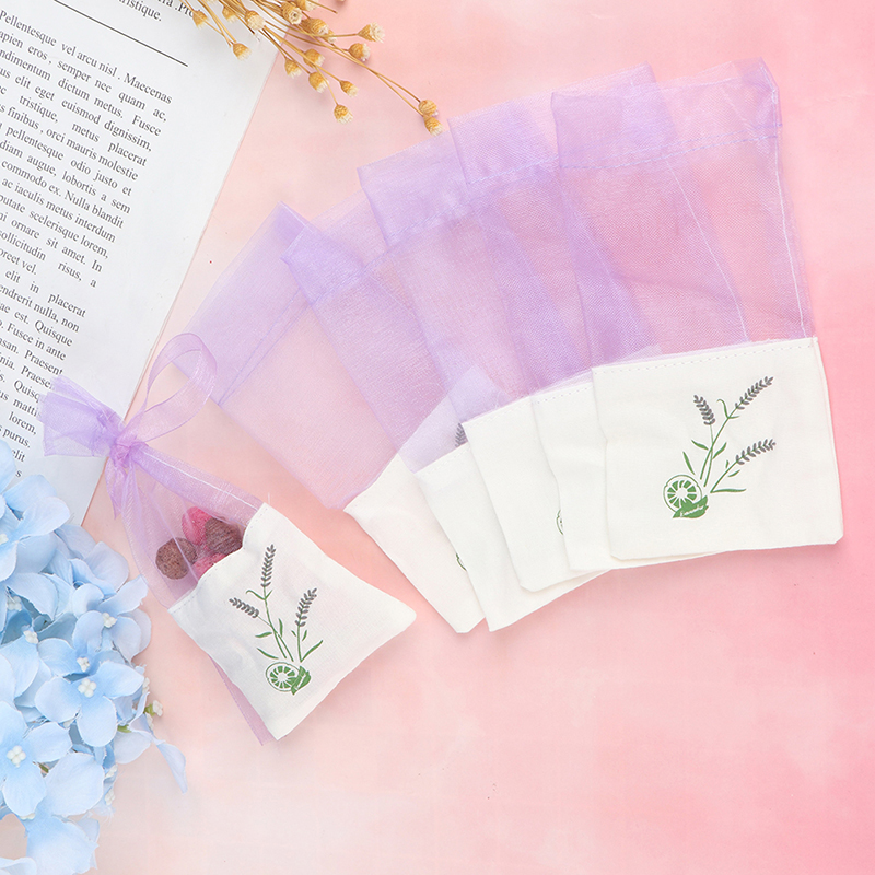6pcs Sachets Flower Printing Portable Empty Lavender Fragrance Sachet Bag For Seeds